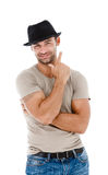 Smiling young man pointing copy space Royalty Free Stock Photo