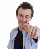 Smiling young man pointing on you Royalty Free Stock Photos