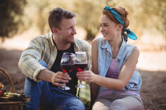 Smiling young man and woman toasting wineglasses Stock Photo