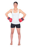 Smiling young model with boxing gloves posing Royalty Free Stock Photo