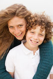 Smiling young mother with son Royalty Free Stock Photography