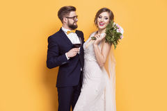 Smiling young newly married on a yellow background. Smiling young newly married standing on a yellow background Royalty Free Stock Image