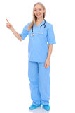 Smiling young nurse portrait  over white background. Royalty Free Stock Photography