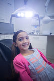 Smiling young patient sitting on dentists chair Royalty Free Stock Image