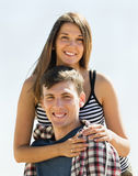 Smiling young people running outdoor Royalty Free Stock Images