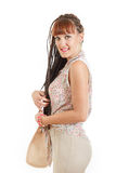 Smiling young pretty girl with women bags in hand Royalty Free Stock Photography