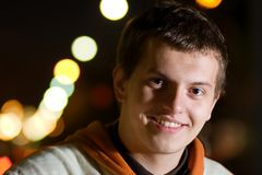 Smiling young rapper guy Stock Photos