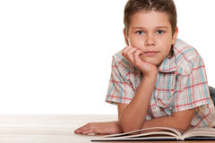 Smiling young reader Royalty Free Stock Image