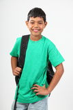 Smiling young school boy 10 with rucksack Stock Images