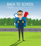Smiling Young School Boy in Uniform with Blue Backpack. Stock Photos