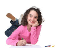 Smiling Young School Child Drawing Artwork Royalty Free Stock Photo