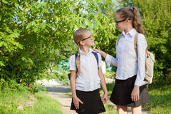Smiling young school girls in a school uniform against a tree in. Smiling young school children in a school uniform standing against a tree in the park at the Stock Image