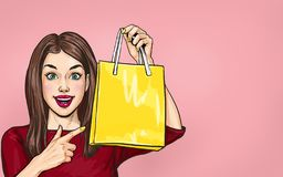 Free Smiling  Young Sexy Woman Pointing On  Shopping  Bag In Comic Style.  Pop Art  Wow Girl. Sale Stock Image - 162274661