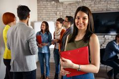 Young smiling student architects tim royalty free stock image