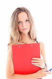 Smiling young student with clipboard Stock Photography
