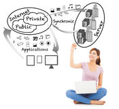 Smiling young student drawing a cloud applications chart. With white background royalty free stock photography