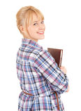 Smiling young student girl with book Stock Images