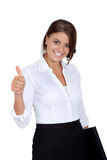 Smiling young successful business woman isolated Stock Photography