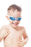 Smiling young swimmer. On isolated white stock photography