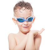 Smiling young swimmer. On isolated white royalty free stock photos