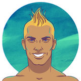 Smiling young tanned guy with a mohawk hairstyle Royalty Free Stock Images