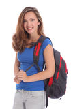 Smiling young teenage school girl with backpack Stock Images