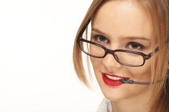 Smiling young telephone operator Royalty Free Stock Photos