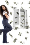 Smiling Young Woman And Flying Dollars Stock Images
