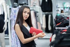 Smiling young woman Asian with shopping and buy with credit card at mall/supermarket/market stock photography