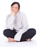 Smiling young woman in bight sweater Royalty Free Stock Image
