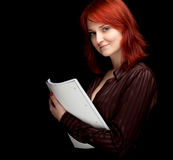 Smiling young woman with blank card Stock Photo