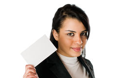 Smiling young woman with blank card Stock Image