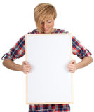 Smiling young woman with blank sign, billboard Stock Photos