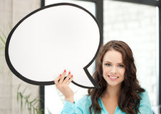 Smiling young woman with blank text bubble Stock Photos