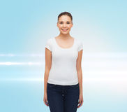 Smiling young woman in blank white t-shirt Stock Image