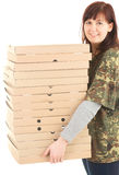 Smiling young woman with boxes of pizza Stock Photography