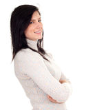 Smiling young woman in bright sweater Royalty Free Stock Photo