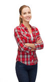 Smiling young woman in casual clothes Royalty Free Stock Images