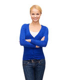 Smiling young woman in casual clothes Stock Photography