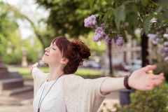 Free Smiling Young Woman Celebrating Spring Stock Photos - 55298333