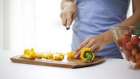 Smiling young woman chopping pepper at home stock footage
