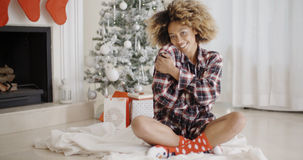 Smiling young woman in a Christmas living room Stock Photos