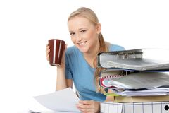 Smiling young woman with coffee cup Royalty Free Stock Photography