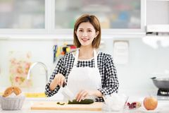 Young Woman Cooking in the kitchen. Smiling Young Woman Cooking in the kitchen Stock Photography