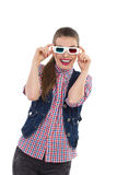 Smiling young woman in 3d glasses. Stock Photos