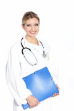 Smiling woman doctor doing rounds stock image