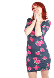 Smiling young  woman in dress Stock Photo