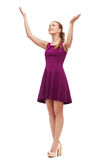 Smiling young woman in dress waving hands Royalty Free Stock Photos