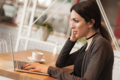 Smiling young woman drinking a coffee and surfing on internet Stock Photography