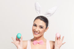 Smiling young woman with Easter eggs Royalty Free Stock Photo